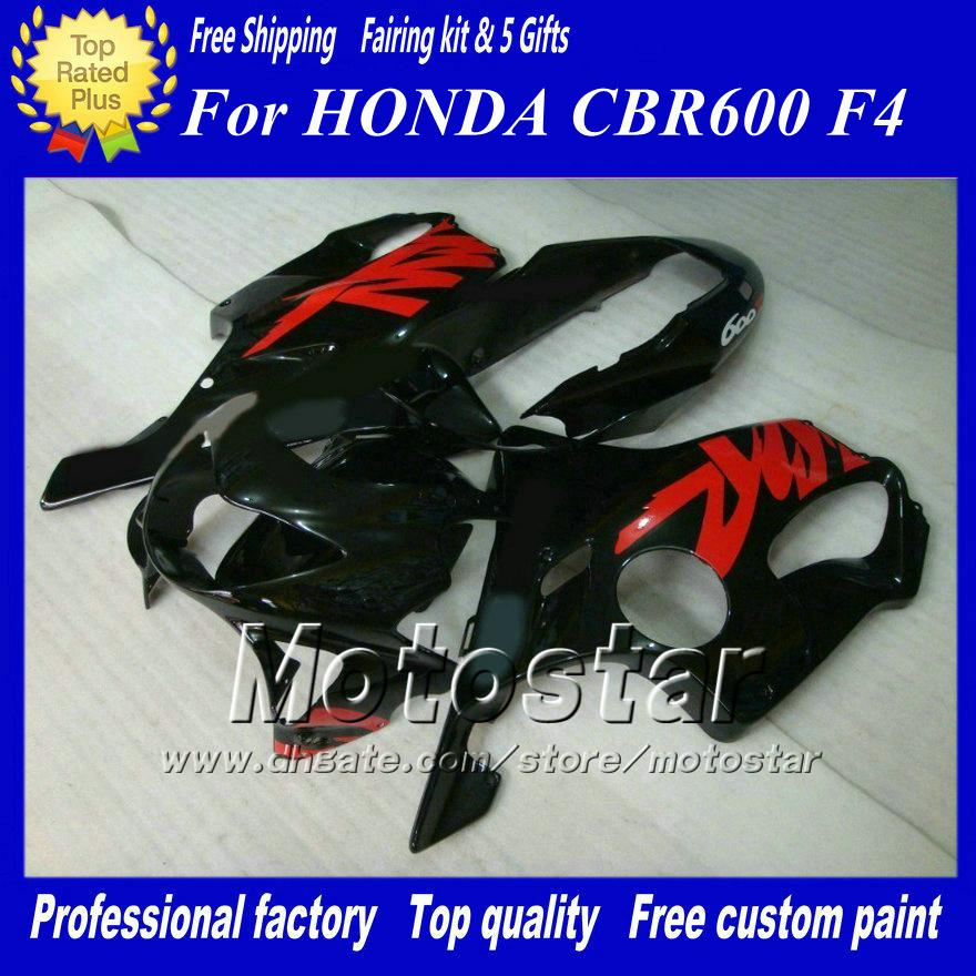 Customized Black Red motorcycle Fairings kit for Honda CBR600 F4 1999 2000 CBR600F4 99 00 CBR 600F4 Fairing kits