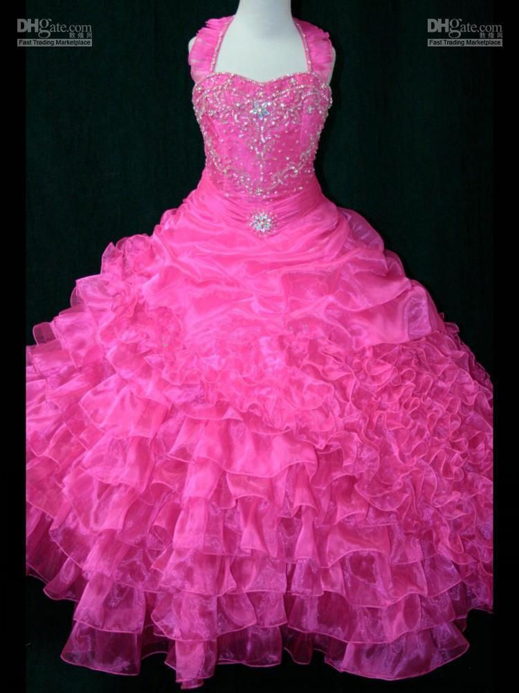 Lovely Hot Pink Ruffle Ball Gown Lovely Flower Girl Dress Pageant ...