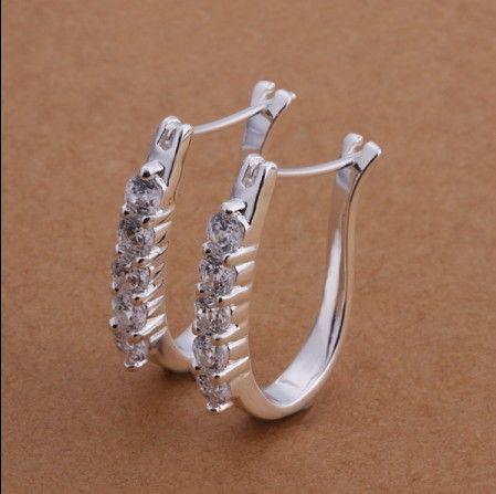 Preço de fábrica de Alta qualidade 925 prata incrustada strass brincos de argola de cristal clássico moda jóias frete grátis 10 par / lote
