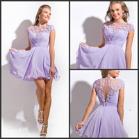 Wholesale Short Prom Embroidered Dresses - 2016 New arrival cap sleeve embroidered neckline with ruched bust Short cocktail Dresses short chiffon dress lilac prom dresses