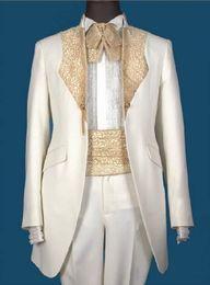Wholesale Handsome Black Men Suits - Hot selling Handsome White Groom Tuxedos Groomsmen Men Blazer Wedding Clothing Business Suits (Jacket+Pants+Girdle+Tie) BM:766