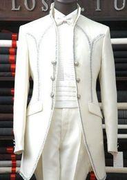 Wholesale Groomsmen Clothing White - Custom Made White Groom Tuxedos Groomsmen Men Prom Blazer Wedding Clothing Business Suits (Jacket+Pants+Girdle+Tie) BM:771