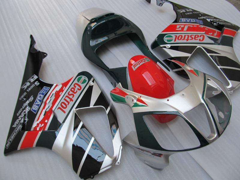 H1019 Gümüş kırmızı CASTROL Honda VTR RVT 1000 R için Tornalar R 1000R VTR1000 RVT1000 SP1 RC51 kaporta kiti