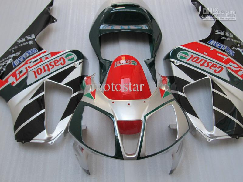 H1019 Silver red CASTROL Carenados para Honda VTR RVT 1000 R 1000R VTR1000 RVT1000 SP1 RC51 kit de carenado