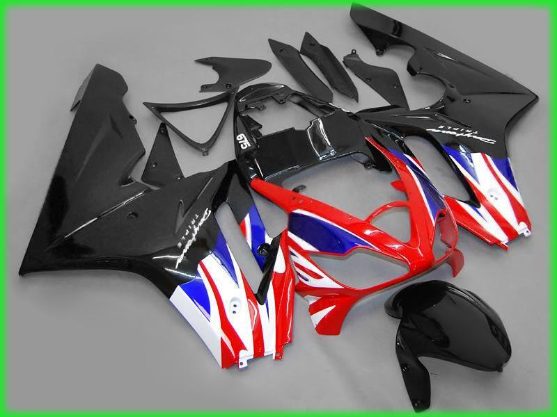 Siyah / beyaz / kırmızı / mavi Yarış kiti TRIUMPH Daytona 675 Yüksek Kalite EMS Ücretsiz # T6583
