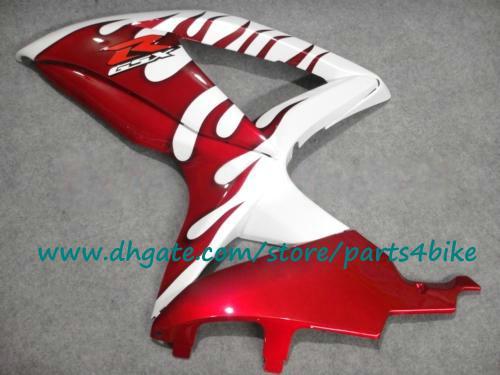 ABS personalizar el kit de carenado de carreras para SUZUKI 2008 2009 GSXR 600 GSXR 750 llamativos blancos de llama fijar GSX-R600 / 750 K8 08 09 con 7 regalos