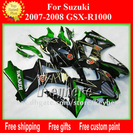 Wholesale Suzuki Gsxr Aftermarket Fairing Kit - Free Custom race fairing kit for SUZUKI 2007 2008 GSX R1000 GSXR 1000 07 08 K7 fairings G7h new BACARDI green aftermarket motorcycle parts