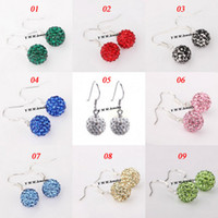 Wholesale shamballa dangle earrings - Valentine's Day Gift Silver Plate Disco Balls Crystal Shamballa Earrings 50 Pairs Mix Options Free Shipping