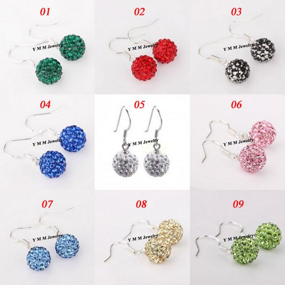 Valentine's Day Gift Silver Plate Disco Balls Crystal Earrings 50 Pairs Mix Options Free Shipping