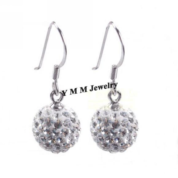 Valentine's Day Gift Silver Plate Disco Balls Crystal Earrings Mix Options