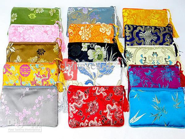 The Best iphone Cover Ladies Cell Phone Purse Pouch Silk Tassel Zipper Bags 10pcs/lot mix color Free