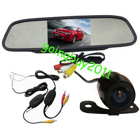 "4.3"" Car LCD Mirror Monitor Kit + Wireless Mini Waterproof Car Reversing Camera 170 degree"