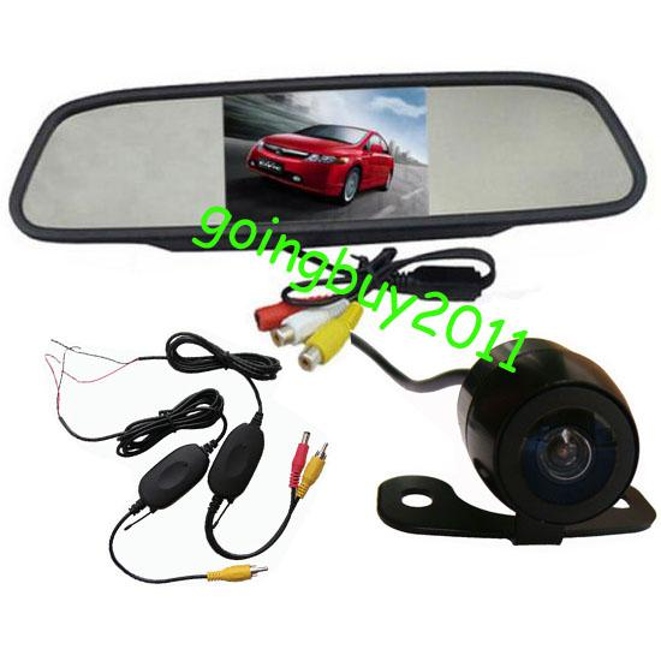 "4.3"" Car LCD Mirror Monitor Kit + Wireless Mini Waterproof Car Reversing Camera 170 degree Free Shipping"