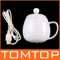 USB Novelty Powered Coffee Tea Beverage Cup Mug Warmer Heater Blue White , Free Drop Shipping Wholesale