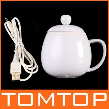 USB Novelty Powered Coffee Tea Beverage Cup Mug Warmer Heater Blue White , Free Drop Shipping Wholesale
