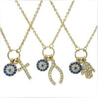 Wholesale Wish Bone - Make a Wish RhinCross Hamsa Hand Wish bone Pendant evil eye charm necklace 45cm women chain necklaces jewelry