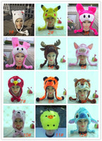 Wholesale Cartoon Deer Birthday Party - 100pcs lots Teaching props Birthday Party cartoon animal hat mixstyle children or adult winter hat Children Cute hats Animal Deer Plush hat
