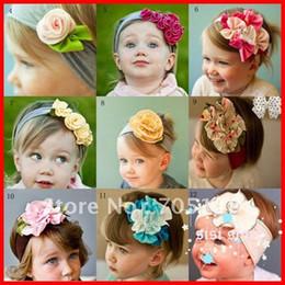 Wholesale Flower Head Scarf - 2013Free shipping 5pcs lot Cute Baby flower headbands infant cotton hair band Baby cotton head scarf Baby headwear headdress