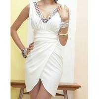 Wholesale irregular hem dresses - Hot Lady Elegant V-Neck Sleeveless Irregular Hem RhineStone Mini Dress Party