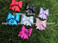 "Wholesale Embroideried Sequin - 50pcs lot,3"" Embroideried sequin bows Girls' hair accessories boutique bows hair pins hair ornaments WTIHOUT CLIP"