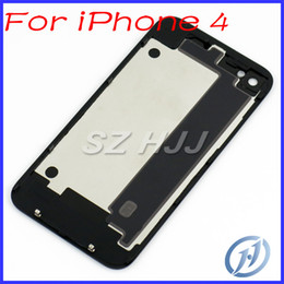 Wholesale Gsm For House - For iPhone 4 Glass Back Housing Rear Battery Door Cover Black and White For iPhone 4 4G GSM