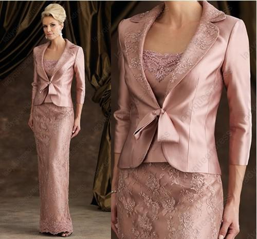 Elegant Dark Pink Satin Mother Of Bride Wedding /evening /formal Dress/groom  With