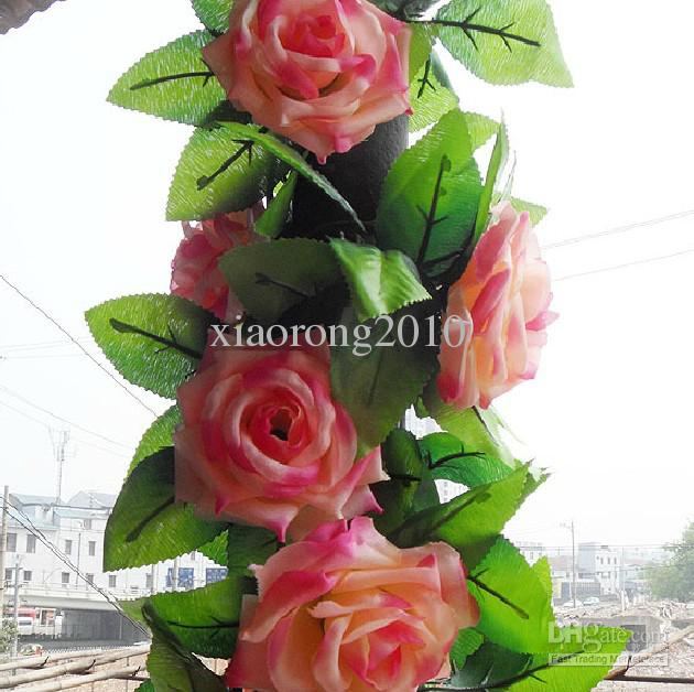 2 Meters Romantic French Rose Flower Rattans Style Silk Artificial Rose Camellia Flower Garlands for Wedding Christmas Decorative Vines