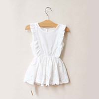 Wholesale Children Wearing Mini Skirts - White Dresses Children Wear Jumper Skirt Kids Summer Dress Embroidered Lace Dresses Fashion Princess Dress Girls Cute Dresses Child Clothes