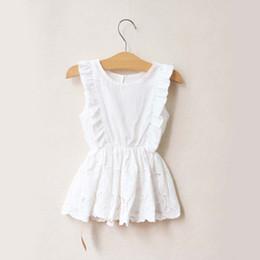 Wholesale Kids Wearing Mini Skirts - White Dresses Children Wear Jumper Skirt Kids Summer Dress Embroidered Lace Dresses Fashion Princess Dress Girls Cute Dresses Child Clothes