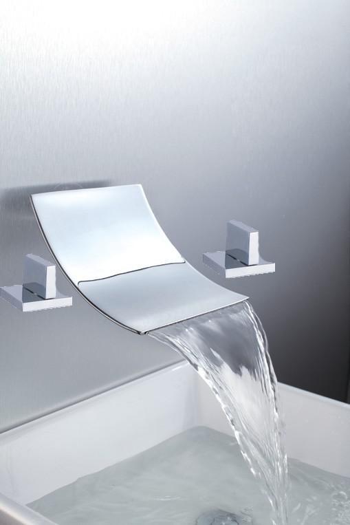 2018 Bathtub Basin Sink Waterfall Spout Mixer Tap Chrome Faucet Set ...