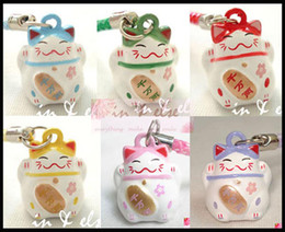 Wholesale Lucky Cat Charms - 100pcs Cute Various Color Maneki Neko Lucky Cat Bell Mobile Cell Phone Charm Gift
