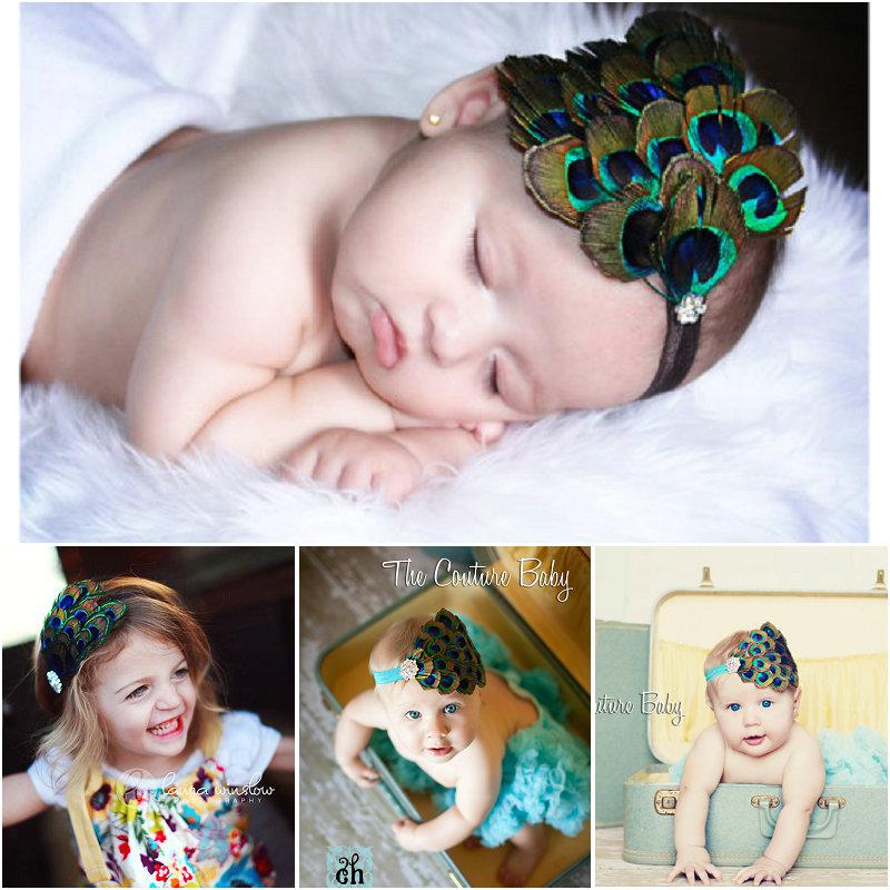 Baby Girl Premium Peacock Feather Fascinator Teal Headband Newborn Toddler  Headbands Crafts Decoration Must Have For Photographers Korean Hair  Accessories ... c5bea76b2de