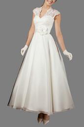 Wholesale Sexy Wedding Desses - custom made white buttons Handmade Flower Lace Tea length Prom dress a-line wedding Desses