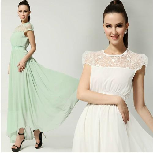 Womens Dresses Chiffon Lace Maxi Dress Girls Plus Size Long Evening