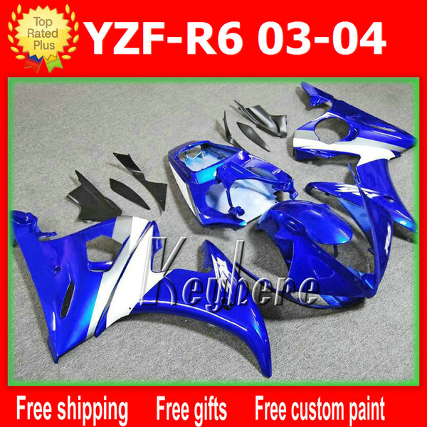 Free 7 gifts Custom ABS race fairing kits for YZF R6 2003 2004 YZFR6 03 04 YZF-R6 fairings G9h white blue black aftermarket motorcycle parts