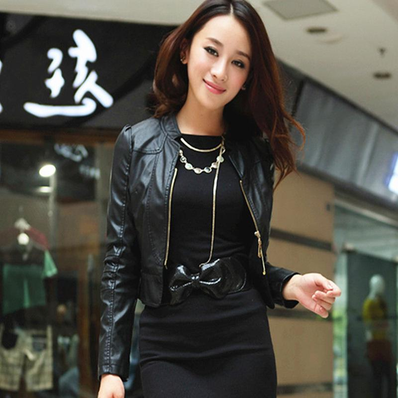 2013 Autumn Pu Leather Women Jacket Short Paragraph Shrug Collar ...
