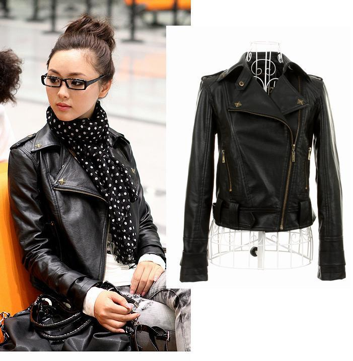 Fashion Sale New Autumn Women Pu Leather Jacket Of Casual Short ...