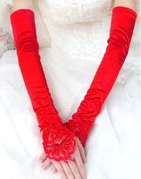 Wholesale Wedding Stretch Gloves - Red Stretch Satin Bridal Wedding Bridal Evening Gloves Elbow Hollowed Fingerless