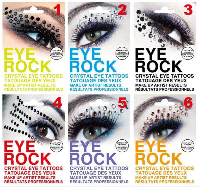 Hot Fashion 6 styles oeil Majic oeil rocher avec diamant oeil liner tatoo party / halloween couleur