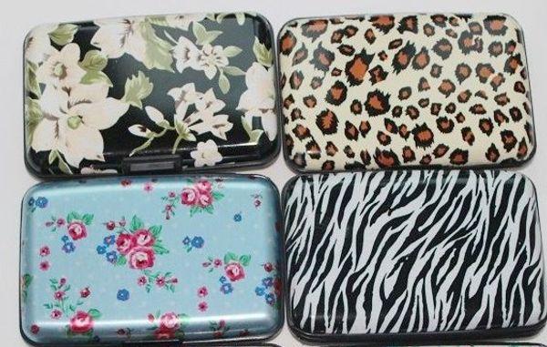 Her türlü stil baskı alüminyum kredi kartı cüzdan leopar çiçek baskı zebra