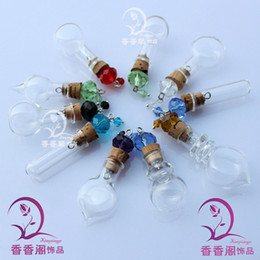 Wholesale Fairy Dust Bottles Necklace - 8MM Glass Vials With Crystal Beaded Corks make a wish pendant necklace wishing bottle Fairy Dust Bottles