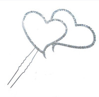 Wholesale Diamante Cake Toppers - 10pcs lot New Double Heart Diamante Shapes Wedding Birthday Christening Cake Topper