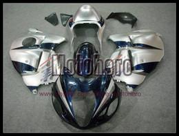 Wholesale Suzuki Hayabusa Blue - Pre-drilled silver blue fairings for SUZUKI GSXR1300 97 98 99 00 01 02 03 04 05 06 07 GSX-R1300 fairing kit e7778