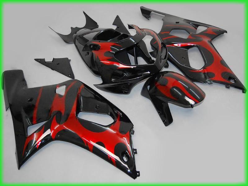 kit de carénage moto rouge / noir ABS K1 2001 2002 2003 GSXR 600 750 SUZUKI GSXR600 R750 01 02 03 carénages