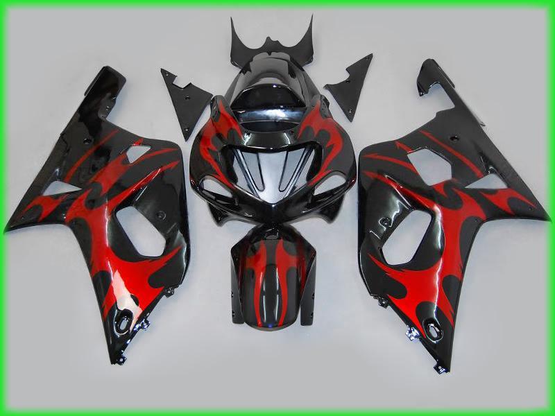 K1 2001 2002 2003 스즈키 GSXR 600 750 GSXR600 R750 01 02 03 페어링 빨간색 / 검은 색 ABS 오토바이 유선형 키트