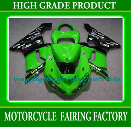 Wholesale Kawasaki Ninja Body Kit Parts - Green black motorcycle fairings kit for Kawasaki Ninja ZX 6R 2005 2006 body work fairing 05 06 ZX-6R motobike parts with 7 gifts