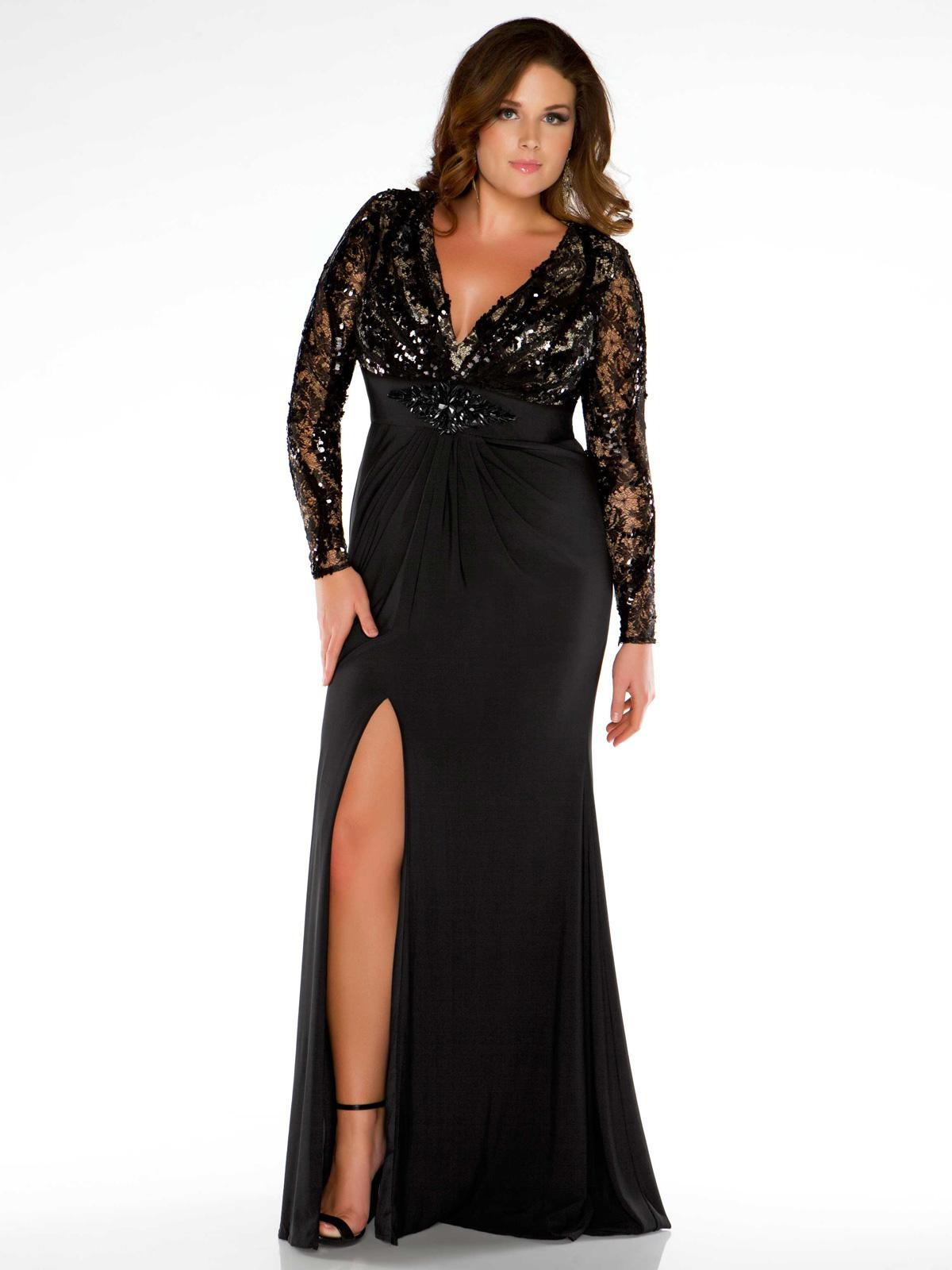 Black Long Sleeve Sheath Plus Size Prom Dress V-neck Lace ...