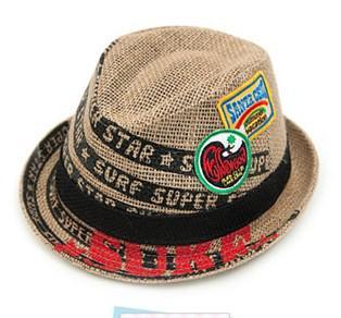 20 pçs / lote Rótulo Embroideried Crianças Fedora Hat Baby Linen Top Hat 4 Cores Crianças Jazz Cap Cap Sun Cap Menino Do Bebê