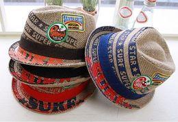 Wholesale Linen Boys Cap - 20pcs lot Embroideried Label Kids Fedora Hat Baby Linen Top Hat 4Colors Children Jazz Cap Baby Sun Cap Boy Cap