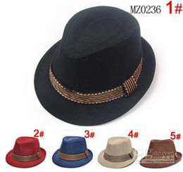 Wholesale Canvas Kids Fedora - 2014 new 20pcs lot Baby Boy Canvas Fedora Hat Baby Jazz Cap Kids Hat fedora summer hats For 2-5T mix 5 color
